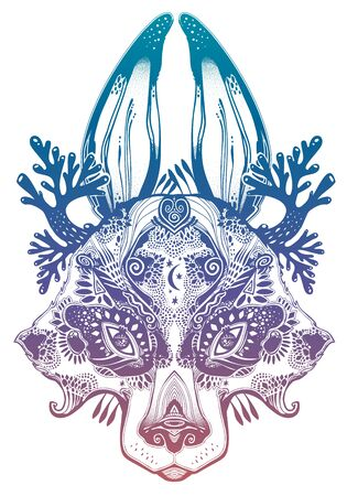 Folk magic highly detailed wolf or raccoon like Spirit of the woods horned beast. Wild forest nature creature, tattoo art, boho design. For print, posters, t-shirts,textiles. Vector illustration.