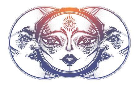 Tribal symbolic sun eclipse with crecsent moon with human face decoration, folk print. Ethnic magic tattoo art. Isolated vector illustration. T-shirt print. Spiritual alchemy symbol.
