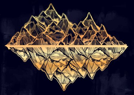 Wilderness landscape with range of beautiful mountains. Vector illustration isolated. Retro travel and hiking print design, vintage outdoors nature. Adventure artwork for camping wanderlust tattoo. Illustration