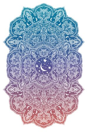 Sacred geometry mindfulness abstract design with stars and moon ornament.