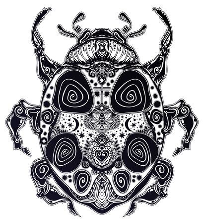 Magic scarab bug or a ladybug in artistic style. Fantasy decorative ornate insect Ladybird beetle.