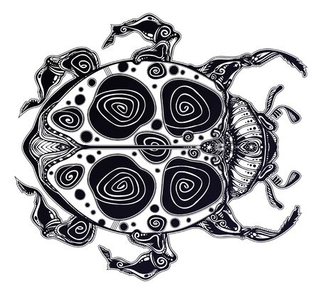 Magic scarab bug or a ladybug in artistic style. Fantasy ornate insect Ladybird beetle. Ilustrace