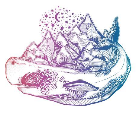 Mythology magic spiritual wild sperm whale sea animal beast carrying mountain range on its back. Illustration