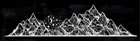 Night landscape with range of beautiful mountains, stars and moon.