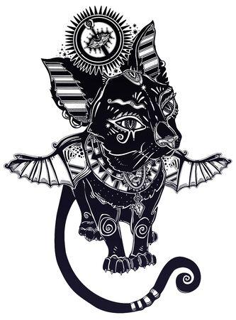 Winged black cat in ancient history Egypt style - symbol of goddess Bastet. Magic occult kitten pet.