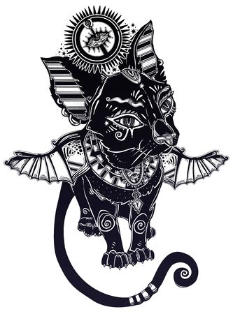 Winged black cat in ancient history Egypt style - symbol of goddess Bastet. Magic occult kitten pet.