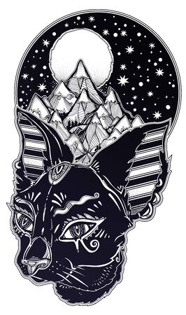 Cat head portrait in Egypt style - symbol of Bastet with the crown of nature and mountains. Dream guardian