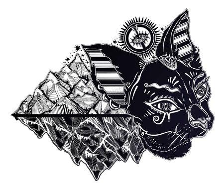 Cat head portrait in Egypt style - symbol of Bastet with the corwn of nature and mountains. Dream guardian