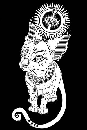 Cat in ancient Egypt style with crown of all seeing eye - symbol of goddess Bastet and god Horus.