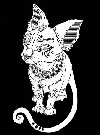 Black cat in ancient history Egypt style - symbol of goddess Bastet.