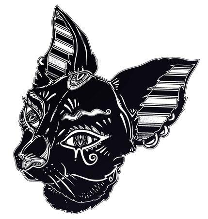 Vintage black cat head portrait in ancient history Egypt style - symbol of goddess Bastet.