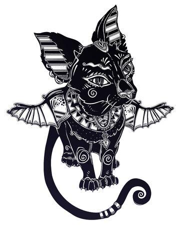 Winged black cat in ancient history Egypt style - symbol of goddess Bastet. Demonic kitten. Illustration