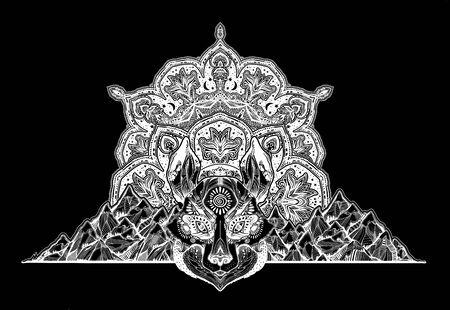 Spirit wolf or raccoon dog beast on wilderness mountain ornamental background. Illustration