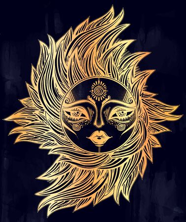 Bohemian tribal sun star with a human face in ornate rays as hair in the wind decoration, folk print. Ethnic tattoo art. Isolated vector illustration. Trendy T-shirt print. Spiritual alchemy symbol. 向量圖像