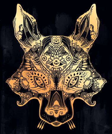 Pagan magic wolf or raccoon like Spirit of the woods horned beast with third eye. Wild forest nature creature, tattoo art, boho design. For print, posters, t-shirts,textiles. Vector illustration. Illustration