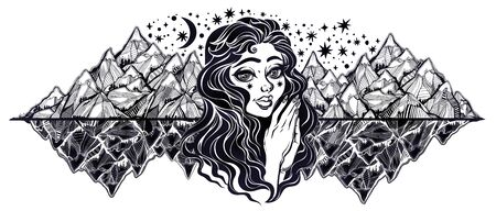 Young wilderness traveller woman with mountains in dreamy tattoo style.