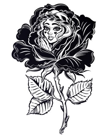 Young and sweet surreal girl in a rose blossom in full bloom in flash tattoo style.