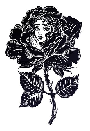 Victorian inspired girl in a rose blossom in full bloom in vintage tattoo style. Zdjęcie Seryjne - 137648035