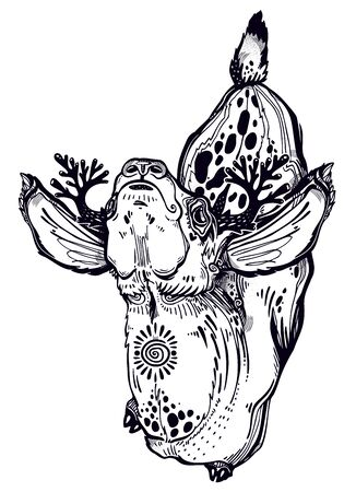 Spotted deer animal in realistic line style. Illustration