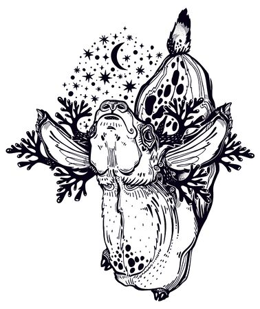 Spotted deer or fawn animal in realistic line style with crown of night stars. Illustration