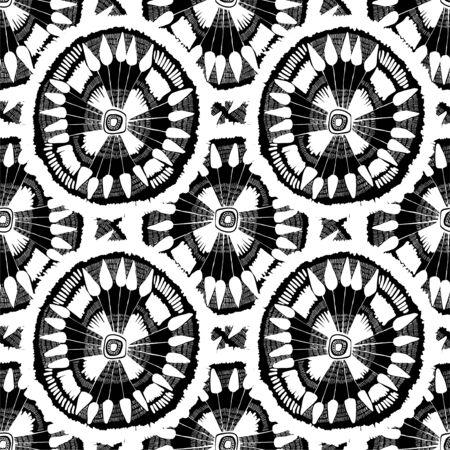 Stylish hand drawn rythmic dandelion flower seamless pattern.