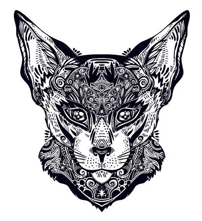 Ornamental beautiful cat or lynx portrait decorated in traditional flash art tattoo style. Character tattoo design for feline pet lovers, artwork for print and textiles. Isolated vector illustration.