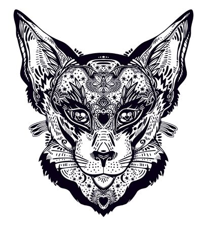 Ornamental beautiful cat or lynx portrait decorated in traditional flash art tattoo style. Character tattoo design for feline pet lovers, artwork for print and textiles. Isolated vector illustration. Zdjęcie Seryjne - 137798063