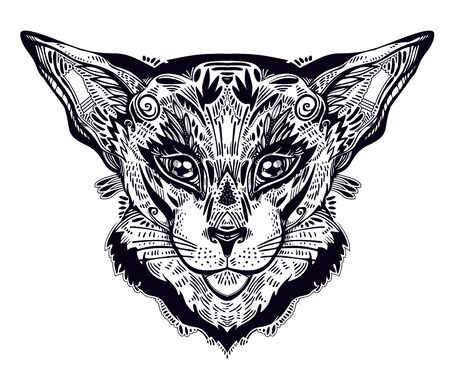 Vintage beautiful cat or lynx portrait decorated in traditional flash art tattoo style. Character tattoo design for feline pet lovers, artwork for print and textiles. Isolated vector illustration.