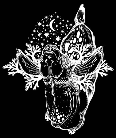 Spotted deer or fawn animal in realistic line style with crown of night stars. Isolated vector illustration. Wild nature tattoo, concept art.