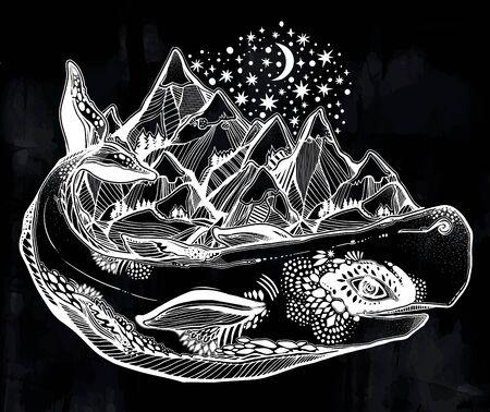 Mythology magic spiritual wild sperm whale sea animal beast carrying mountain range on its back. 向量圖像