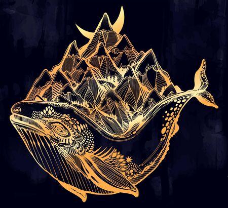 Decorative dreamy surreal whale sea animal beast carrying mountain range on its back. 向量圖像