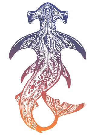 Highly detailed tribal wild Hammerhead shark dangerous sea fish in indigenous Polynesian style.
