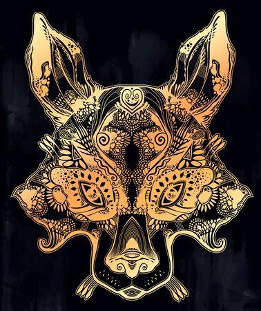 Folk magic highly detailed wolf or raccoon dog beast.