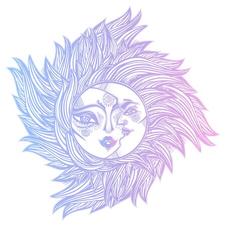 Bohemian tribal sun and crecsent moon a human face in ornate rays as hair in the wind decoration, folk print. Zdjęcie Seryjne - 137847706