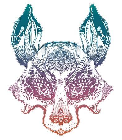 Folk magic highly detailed bear cub or raccoon dog beast. Illustration