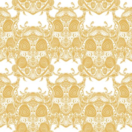 Magic scarab or a ladybug seamless pattern. Fantasy decorative ornament insect ladybird beetle.