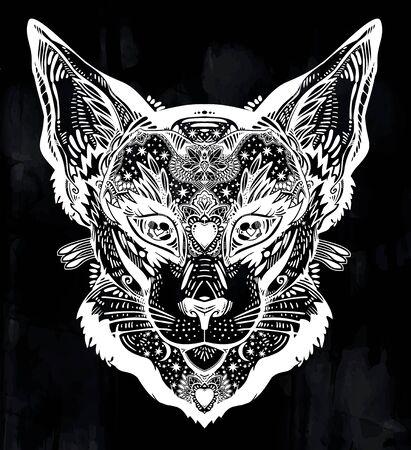 Ornamental beautiful cat or lynx portrait decorated in traditional flash art tattoo style. Illustration