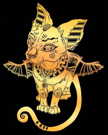 Winged black cat in ancient history Egypt style - symbol of goddess Bastet. Demonic kitten. 向量圖像