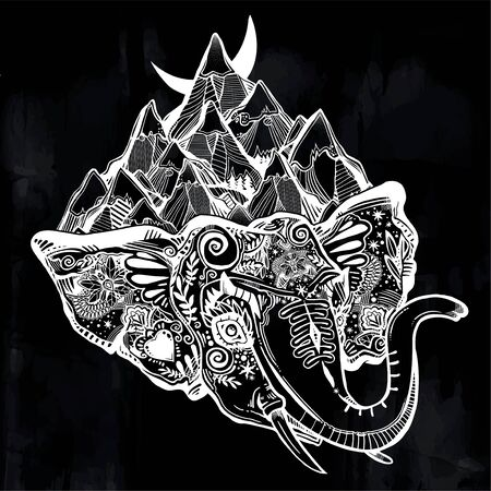 Decorative ornate beautiful Elephant head covered with mountains surreal portrait.