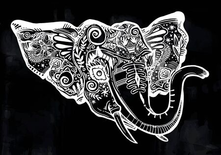 Greeting card with decorative ornate beautiful Elephant head portrait.