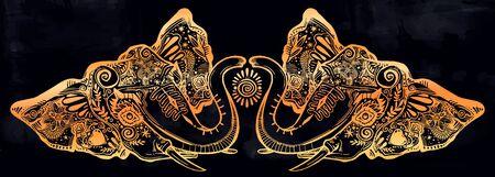 Decorative ornate beautiful Elephant head composition. Illustration