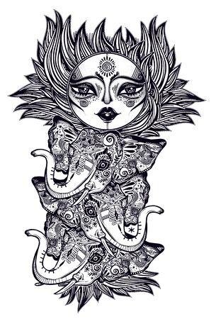 Bohemian magic sun star with a human face totem pole decoration with anumal heads, folk print.