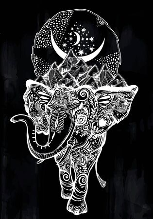 Decorative ornate beautiful Elephant with mountains and sky on his shoulders.