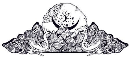 Decorative ornate beautiful land of Elephants with mountains and starry sky. Made in traditional flash tattoo style. Yoga and spirituality, travel, occultism. Isolated vector illustration.