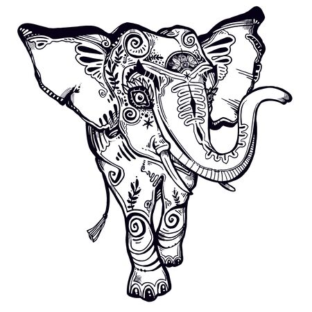 Greeting card with decorative ornate beautiful Elephant.