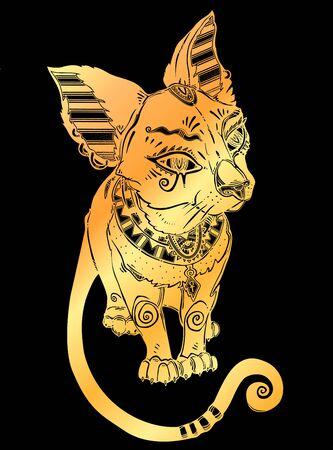 Black cat in ancient history Egypt style - symbol of goddess Bastet.
