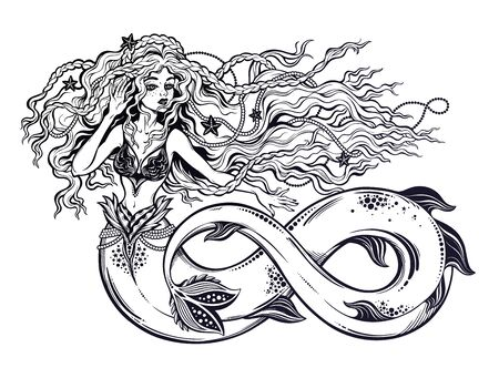 Beautiful mermaid girl with fish tail as infinity sign and vintage style hair. 向量圖像