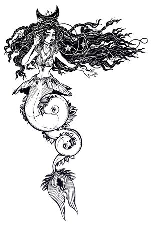 Beautiful mermaid girl with long and curvy fish tail and vintage style hair.