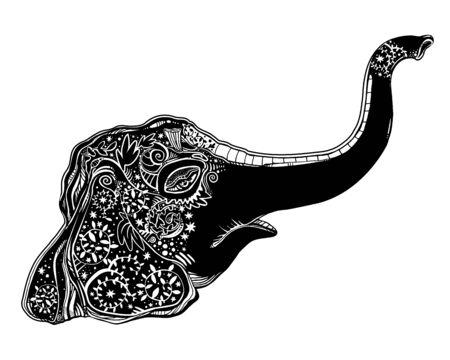 Decorative ornate beautiful Elephant head portrait.