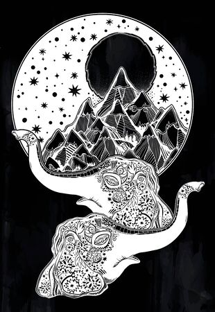 Decorative ornate beautiful land of Elephants with mountains and starry sky.